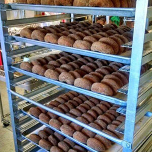 A rack of apple cider donuts