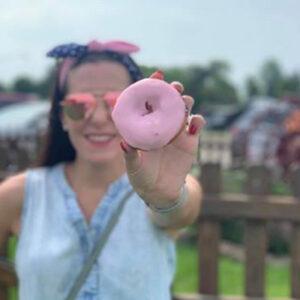 Strawberry-glazed donut